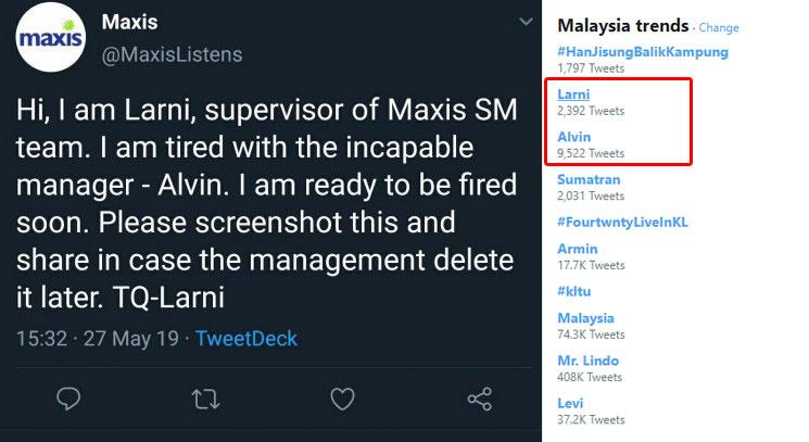 Update] Larni is fine! Maxis Social Media Team Lead Not Behind