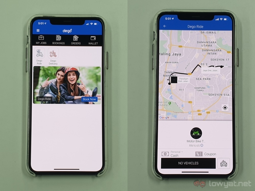 Dego app home + fare