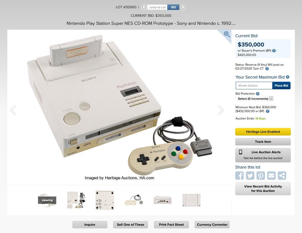Nintendo PlayStation auction price
