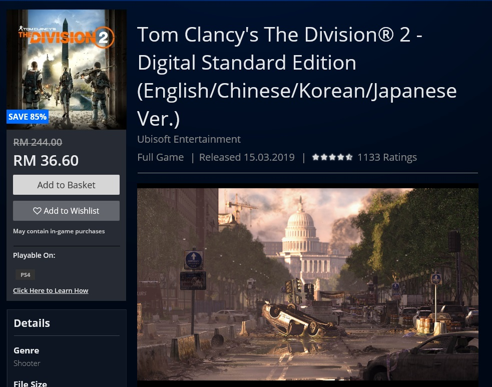 The Division 2 PSN discount