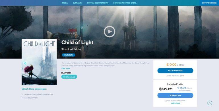 Child of Light free Uplay