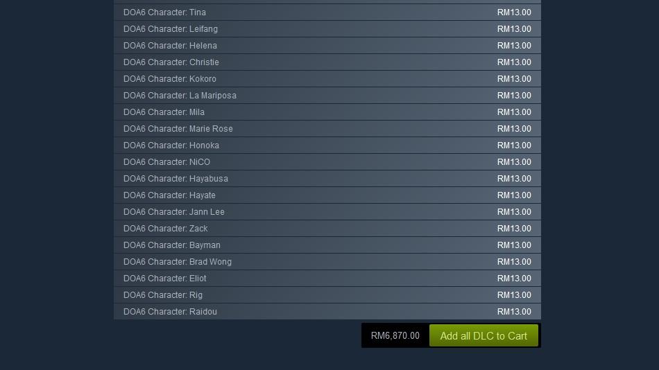 Dead or Alive 6 DLC list