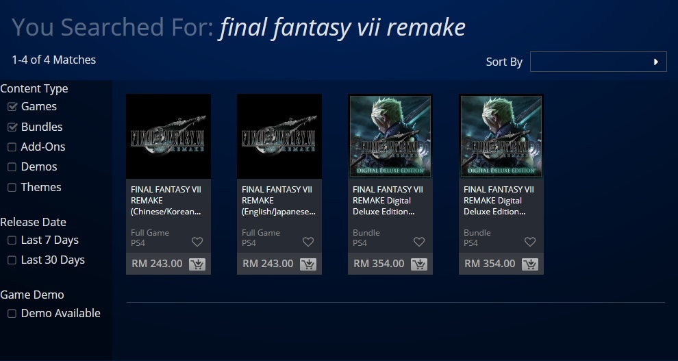 FF7 PlayStation Store different languages