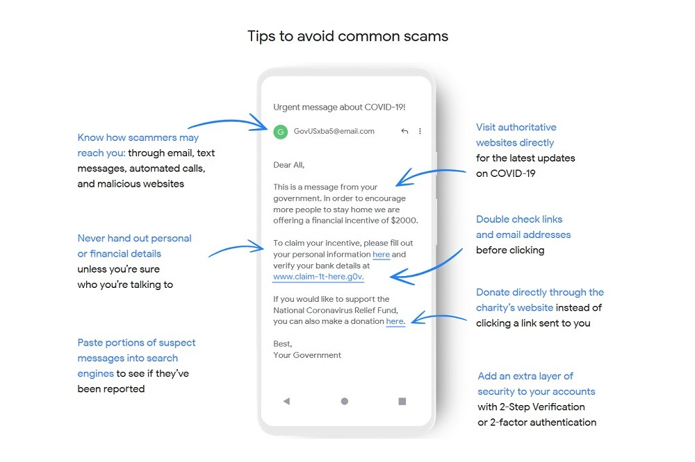 Google tips to identify scams and malware