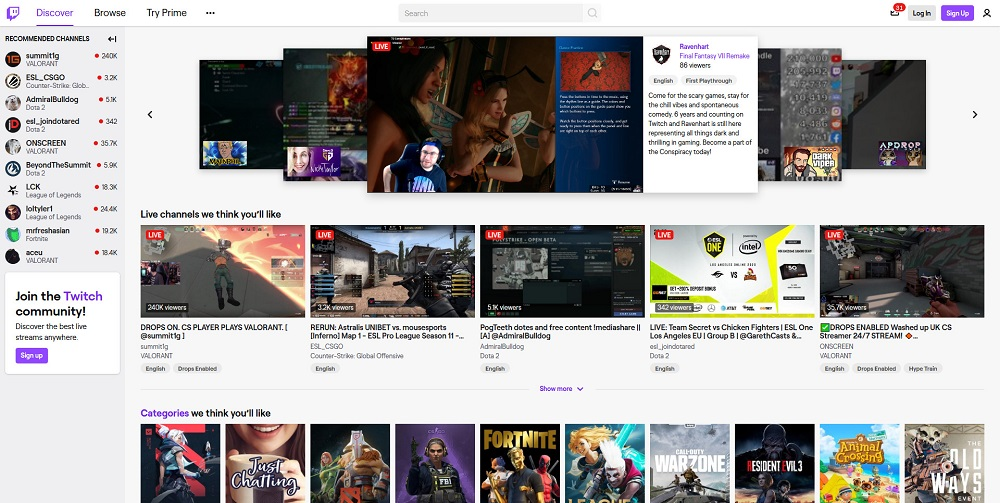Twitch.tv homepage