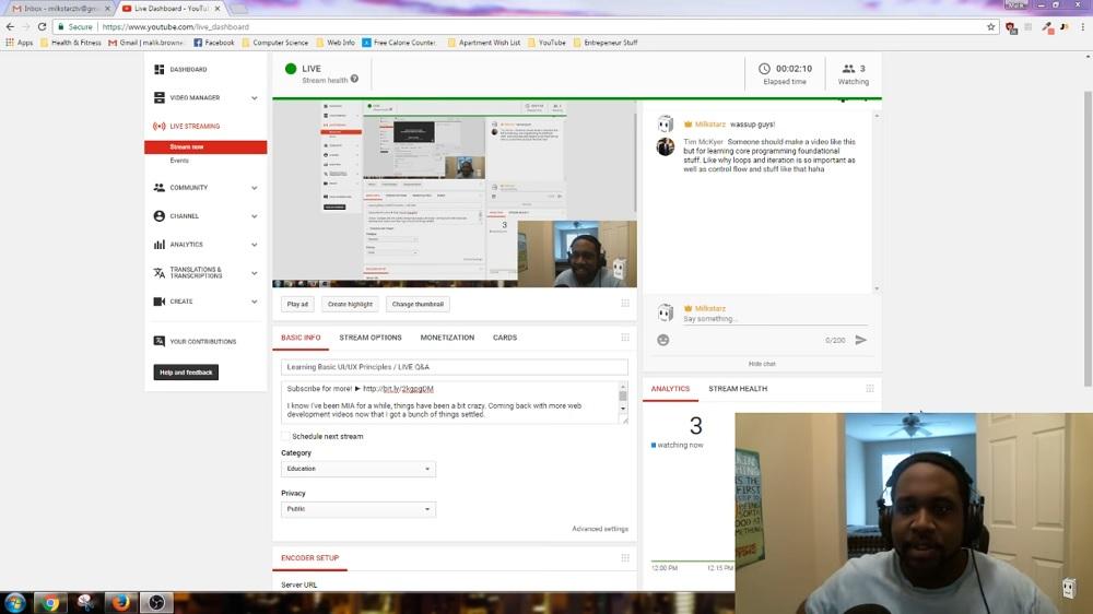 YouTube streaming UI