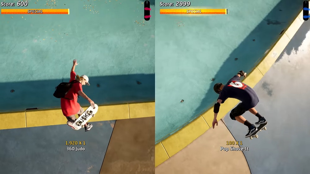 THPS 1+2 gameplay splitscreen