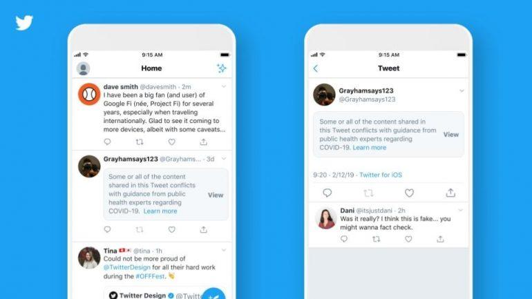 Twitter label misleading COVID-19 tweets