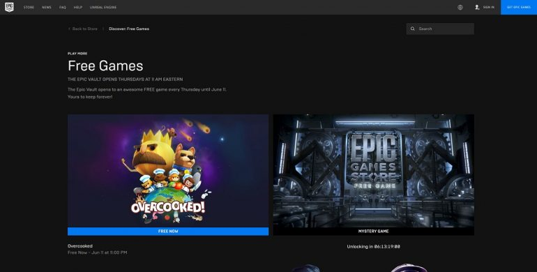 Epic Games Store free game OVercooked