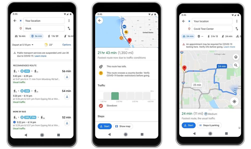 Google Maps COVID-19 alerts