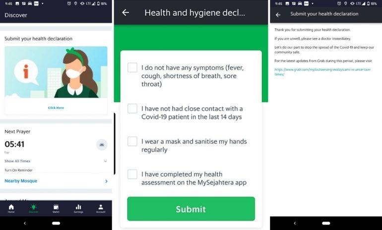 Grab health declaration combined