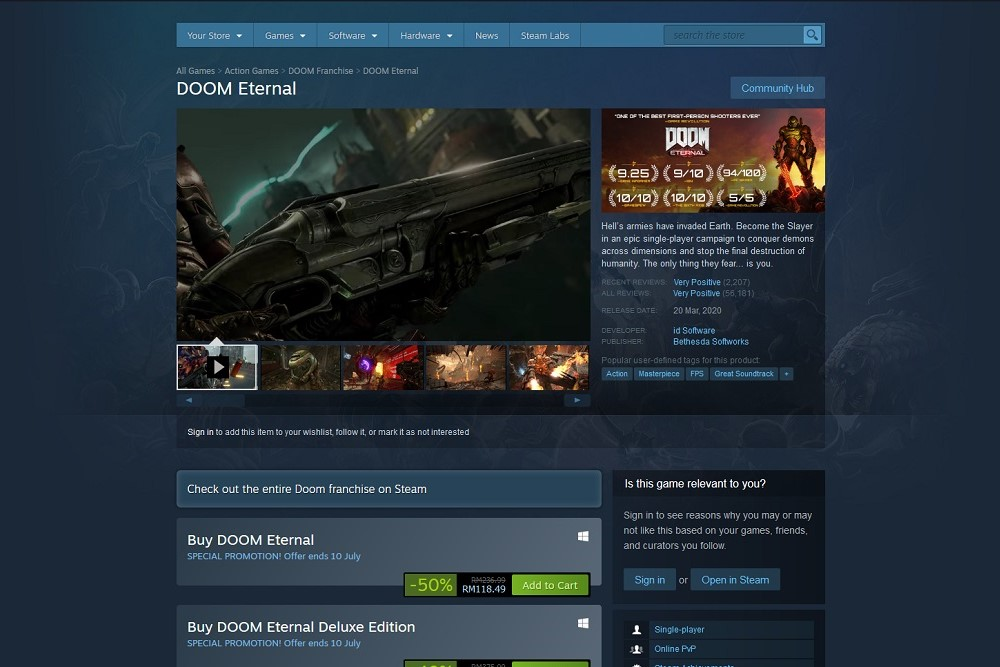 Steam Summer Sale Doom Eternal 50