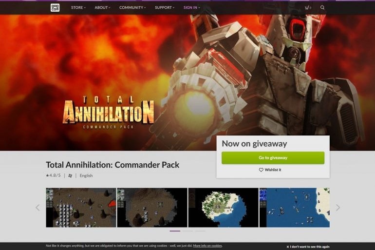 Total Annihilation GOG free until 9pm