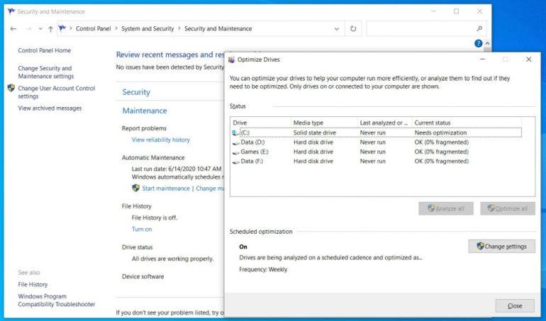 Windows 10 defragging bug