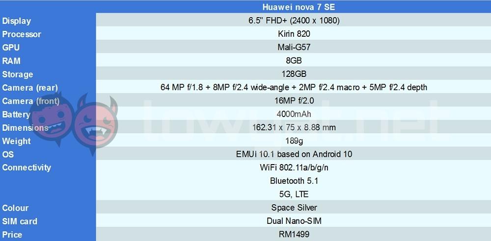 Huawei nova 7 SE specs