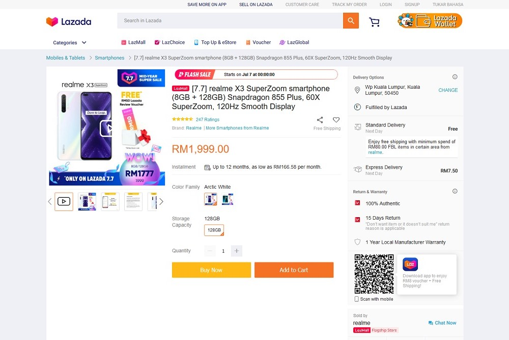 Mid Year 7 7 Sale Realme X3 Superzoom To Be Available For Rm1777