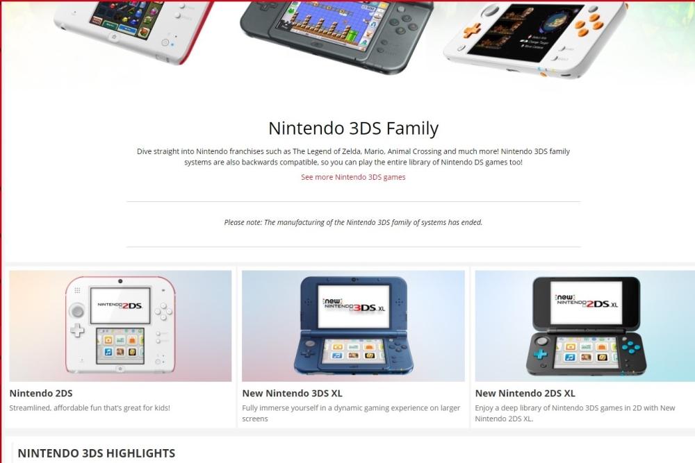 Nintendo 3DS stop production