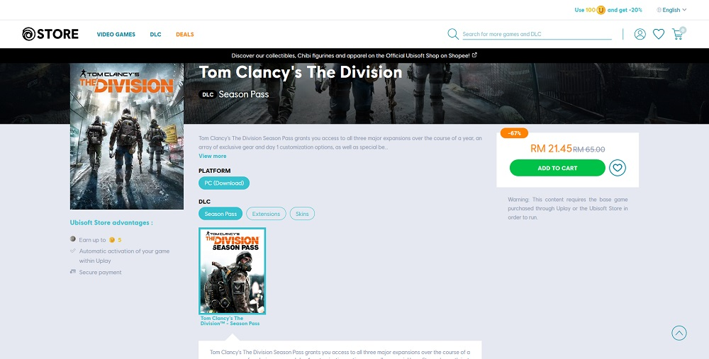 Tom Clancy's The Division season pass discount