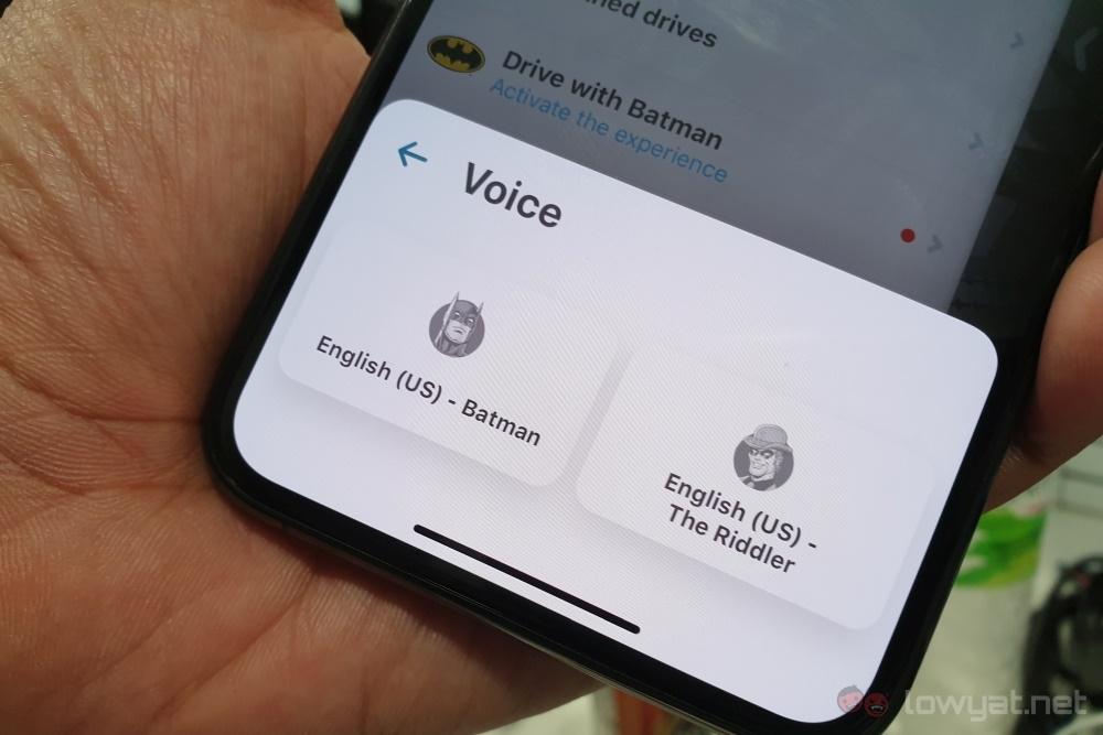 Waze Batman voice select 2