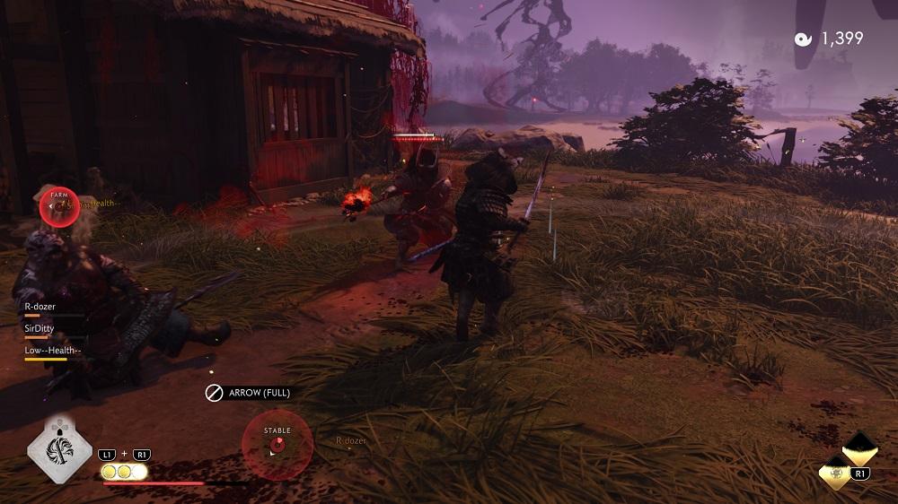 Ghost of Tsushima Legends samurai vs spear oni