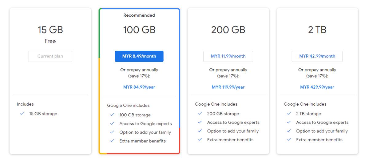 Google One VPN Service Cloud Storage