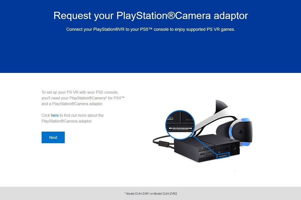 PS VR camera adapter page