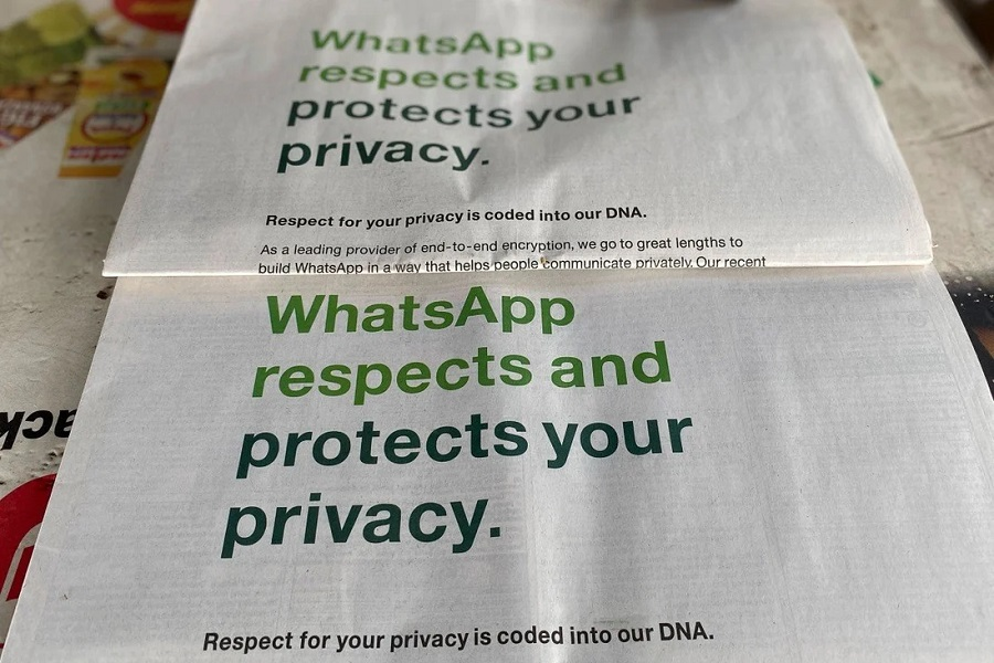 whatsapp india privacy ad AFP