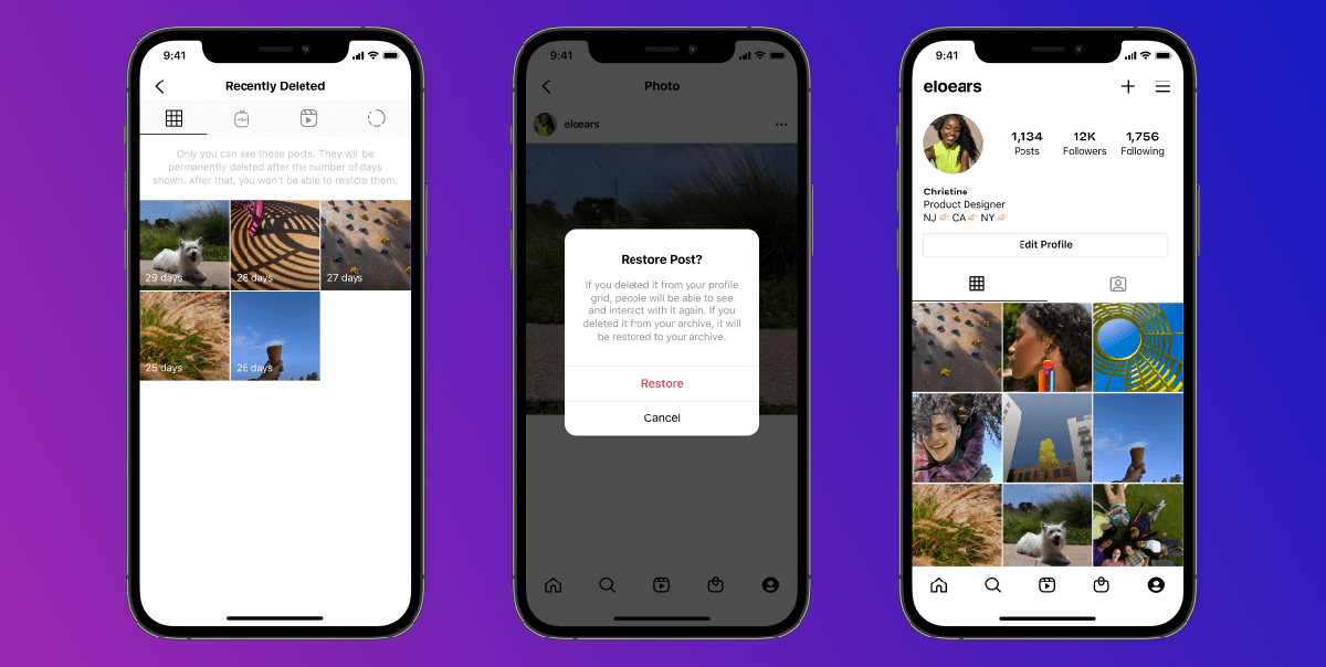 Instagram Recently Deleted feature restore content