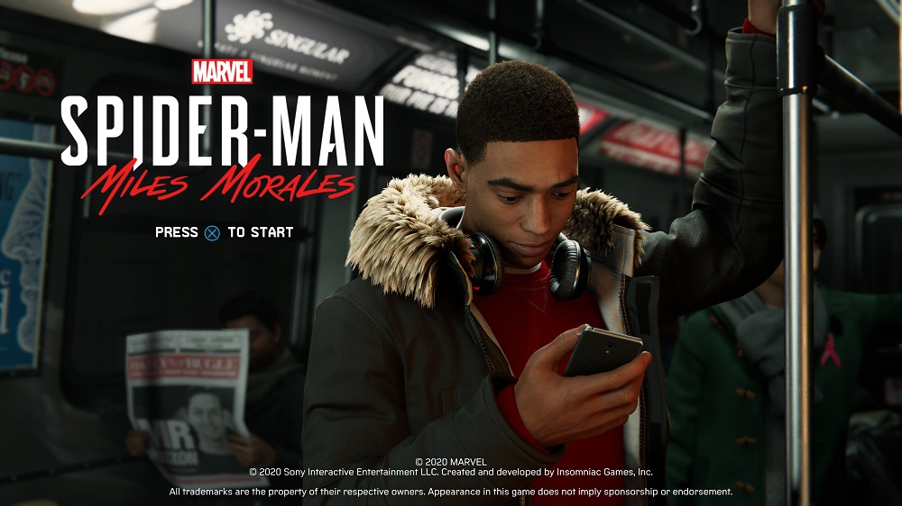 Marvel's Spider-Man: Miles Morales start screen PS5