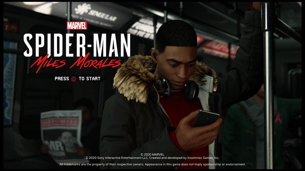 Marvel's Spider-Man: Miles Morales start screen