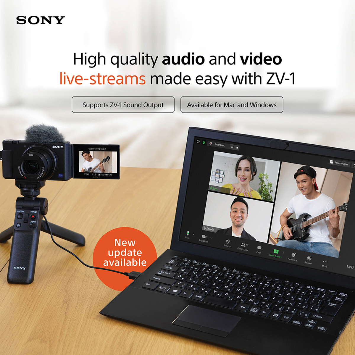 Sony ZV-1 Camera Webcam Live Streaming Firmware Update