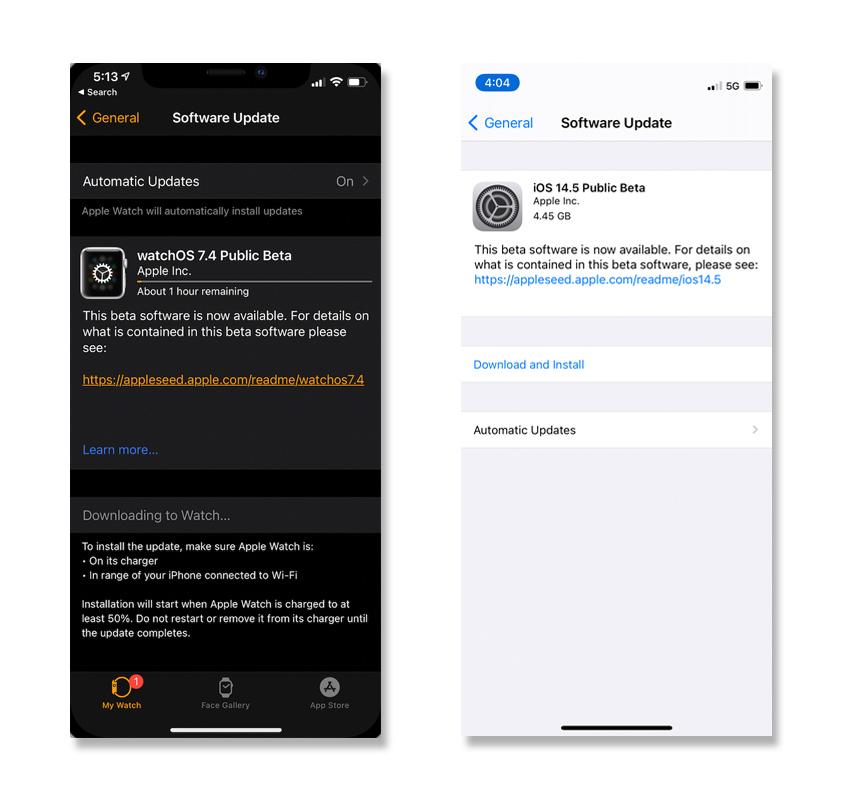 iOS iPadOS 14.5 Beta Available WatchOS 7.4