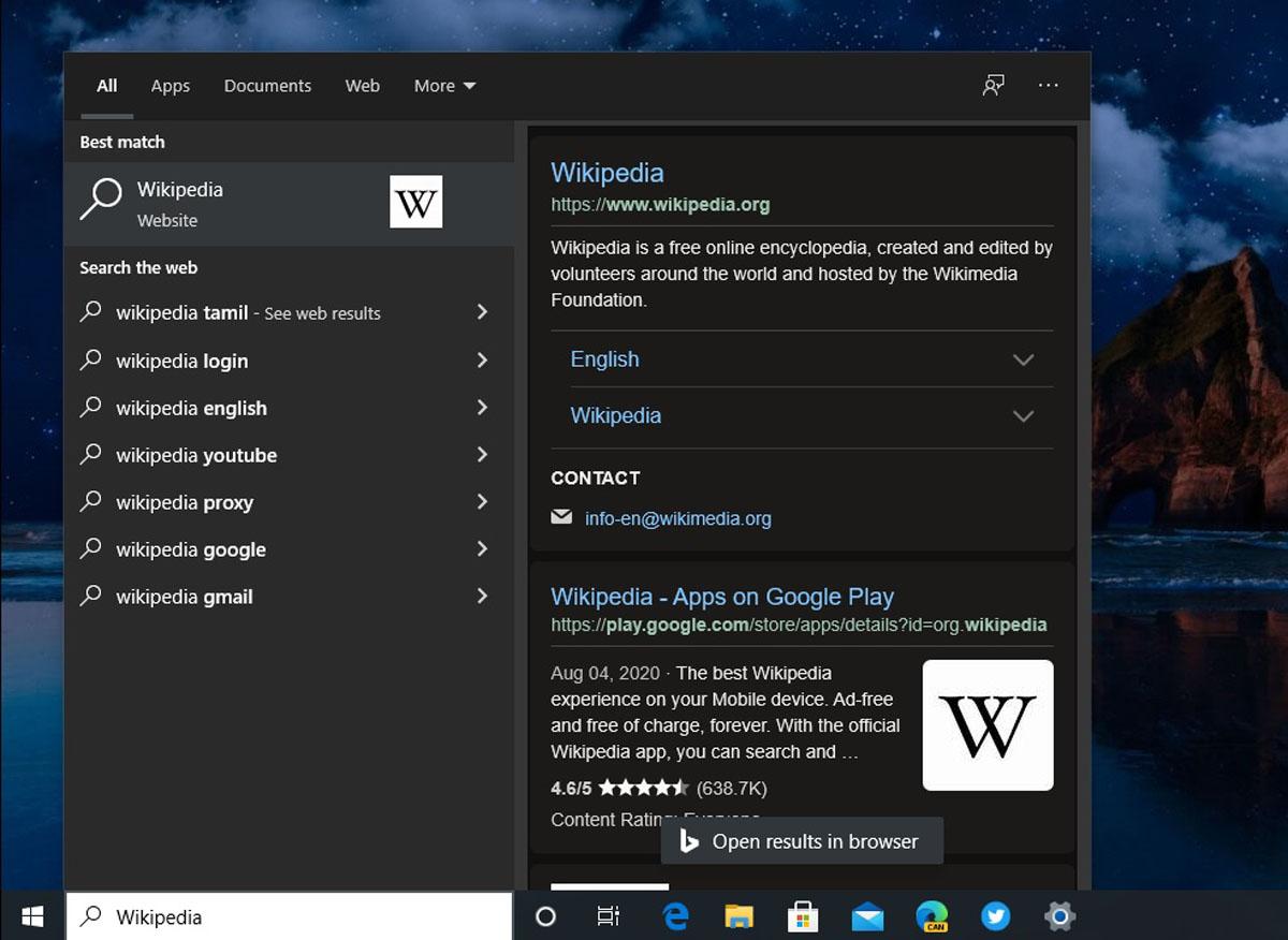 Microsoft Windows 10 Search Bar Integration Edge