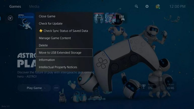 PS5 update move to usb storage