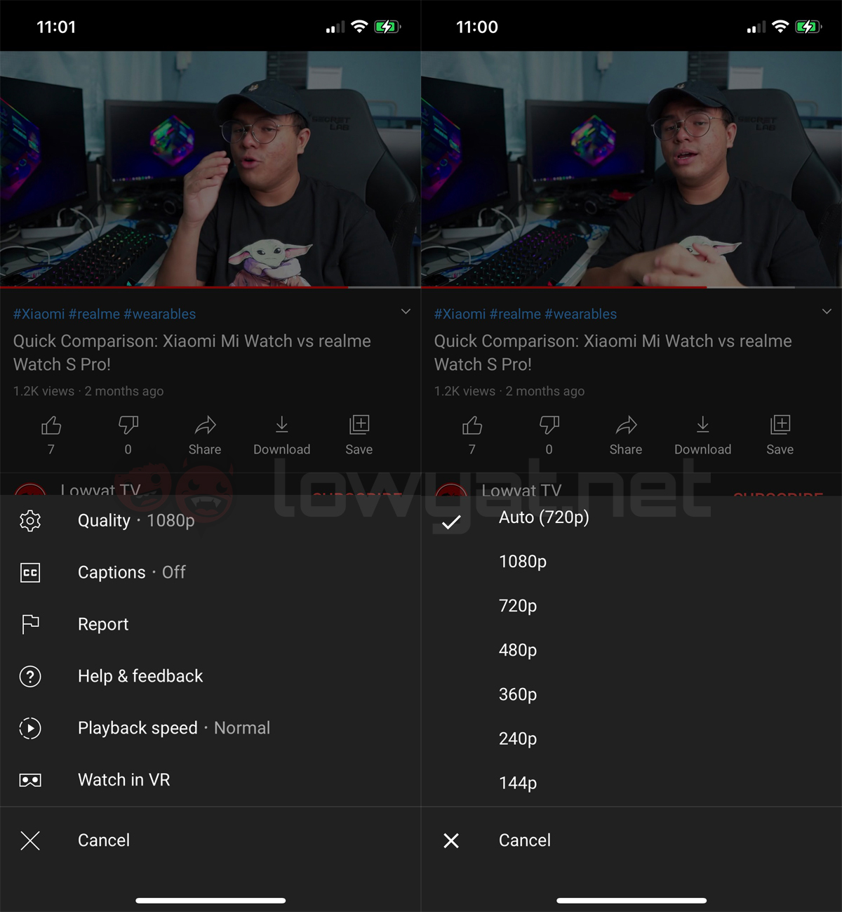 YouTube video quality options data friendly