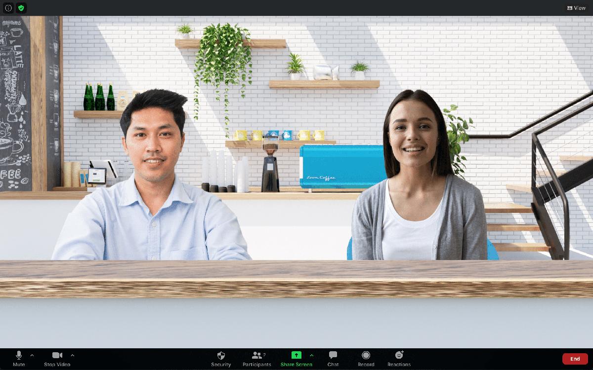 Zoom Immersive View desktop client virtual backgrounds