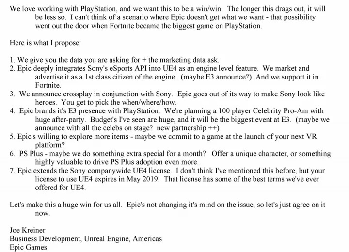 Sony Epic crossplay email