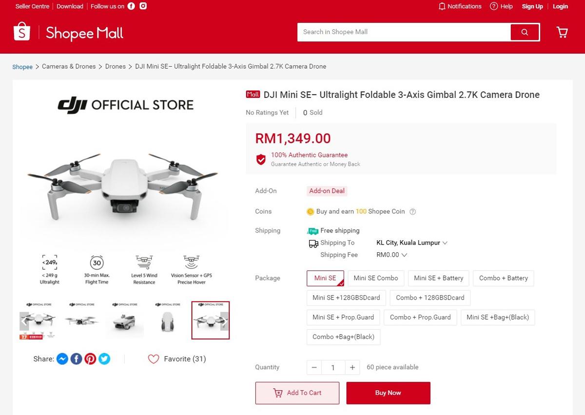DJI Mini SE Launches In Malaysia Price