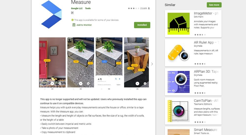 Measure AR Google Play Store