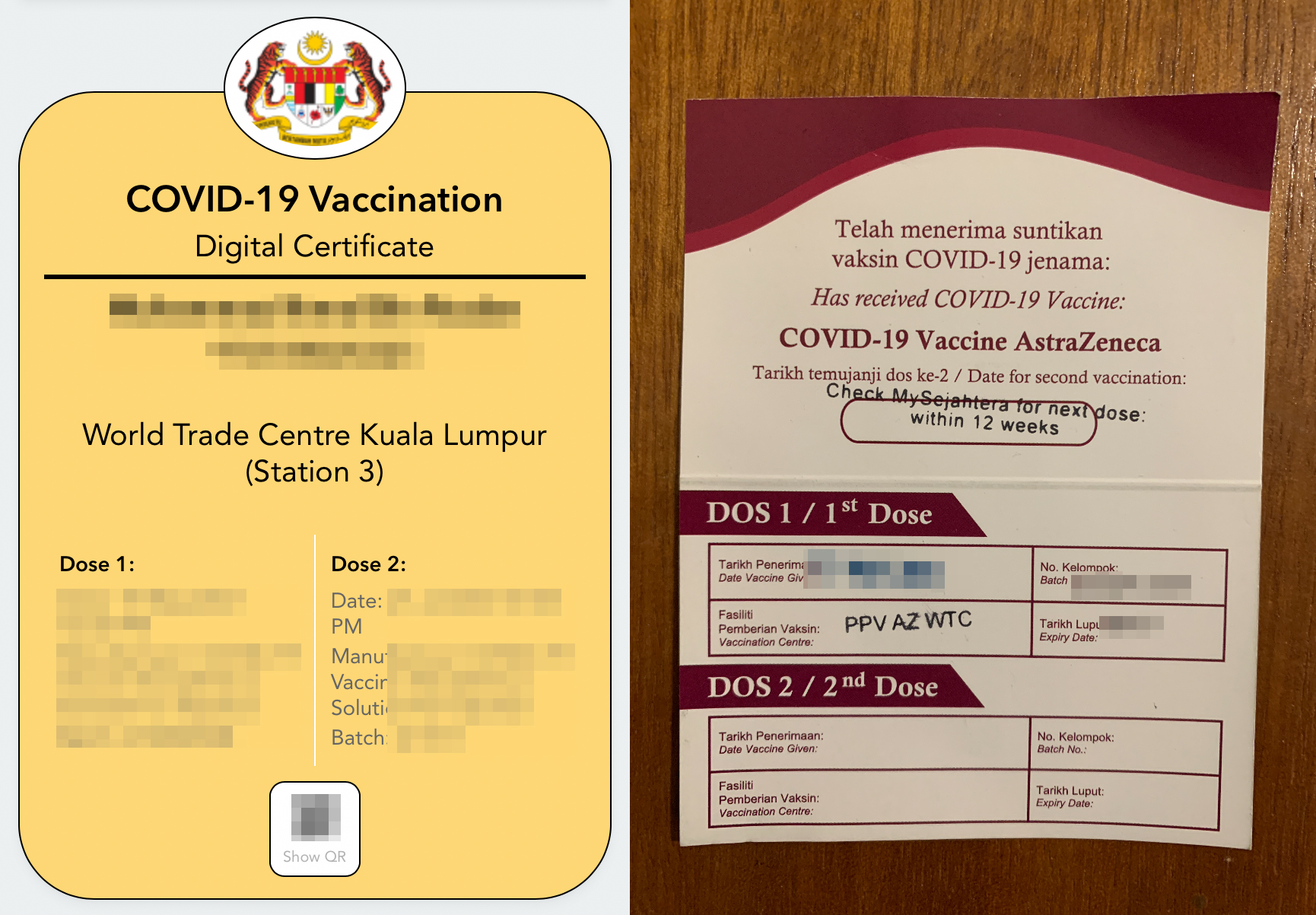 covid vaccination card and certificate