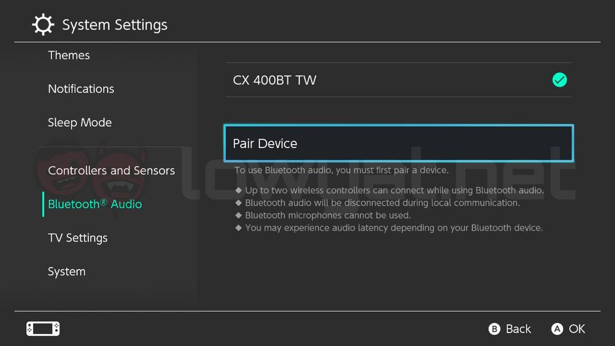 Nintendo Switch Bluetooth audio device firmware update