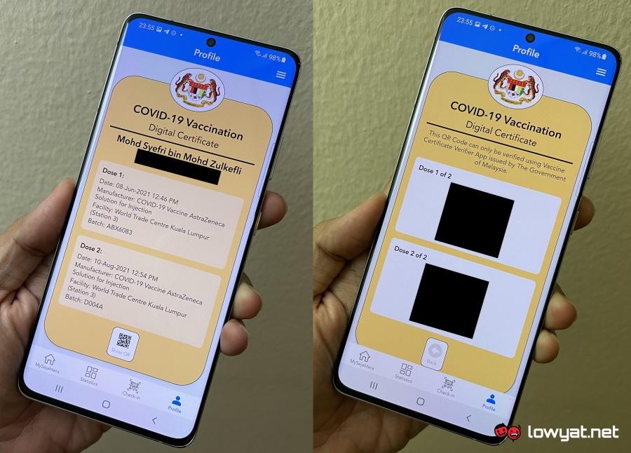 vaccination certificates Malaysia Singapore