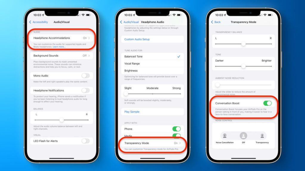 AirPods Pro Conversation Boost menu