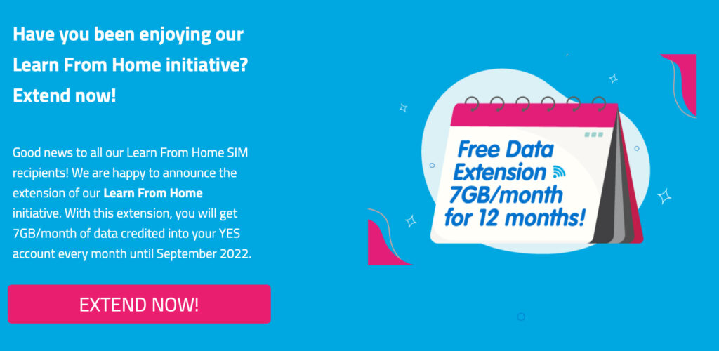 YTL Learn from home Free Data Extension